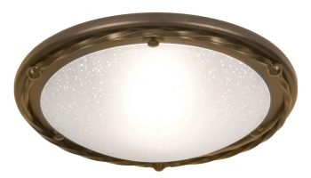 Elstead Pembroke 1 Light Flush Mount Ceiling Light Black & Gold