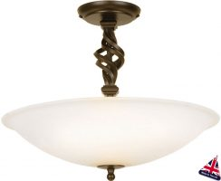 Pembroke Traditional Black And Gold 3 Light Semi Flush