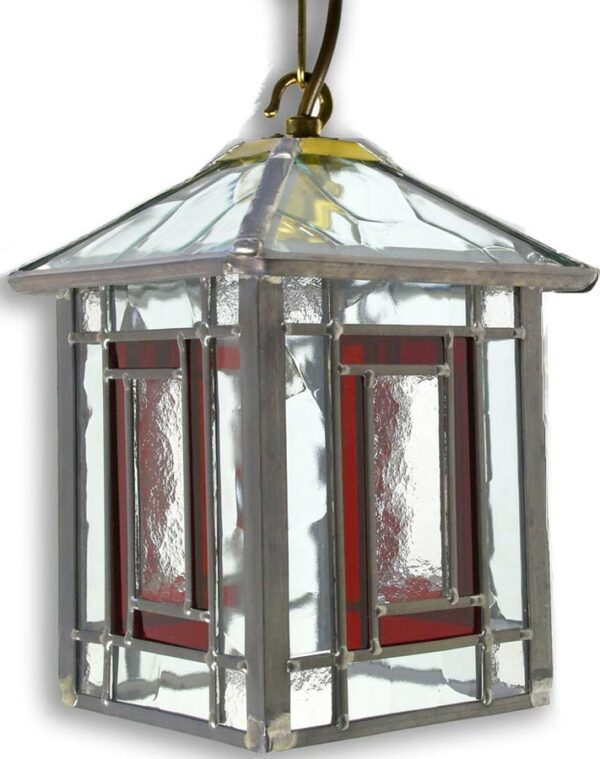 Penrith Red Leaded Stained Glass Hanging Outdoor Porch Lantern
