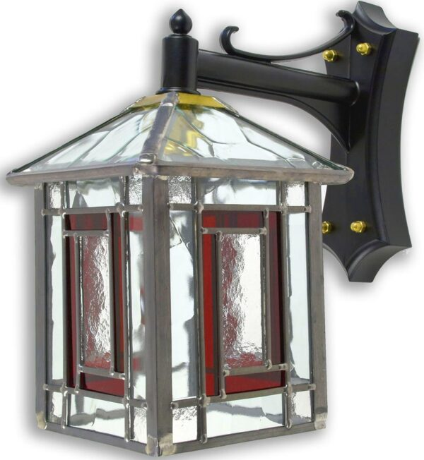 Penrith Traditional Red Leaded Stained Glass Outdoor Wall Lantern