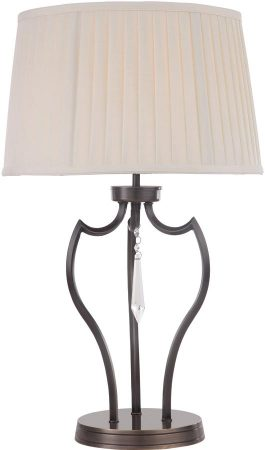Elstead Pimlico Dark Bronze Table Lamp With Ivory Shade