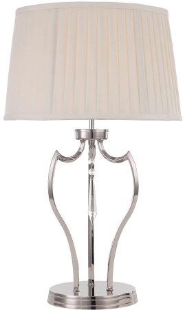 Elstead Pimlico Solid Brass Table Lamp Polished Nickel Ivory Shade