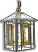 Poole Amber Leaded Stained Glass Hanging Outdoor Porch Lantern