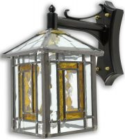 Poole Traditional Amber Leaded Stained Glass Outdoor Wall Lantern