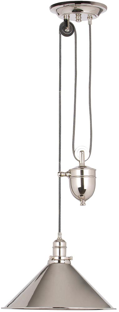 Elstead Provence Rise & Fall Pulley Ceiling Light Polished Nickel