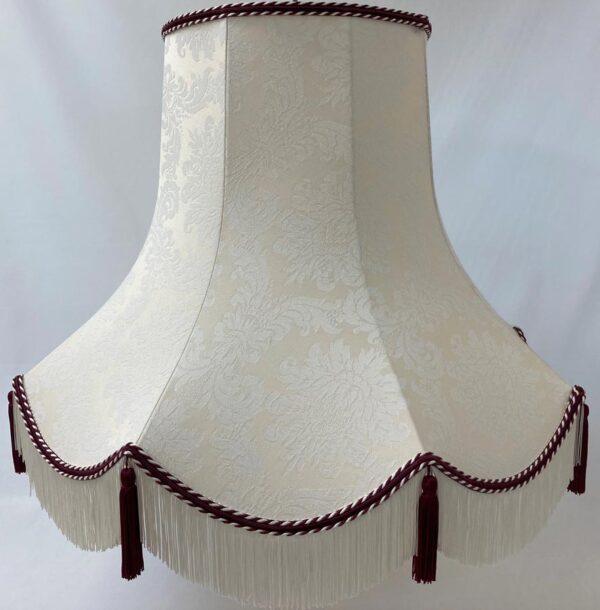 Quality Tassel Floor Lamp Shade Cream & Wine Fabric Handmade in UK