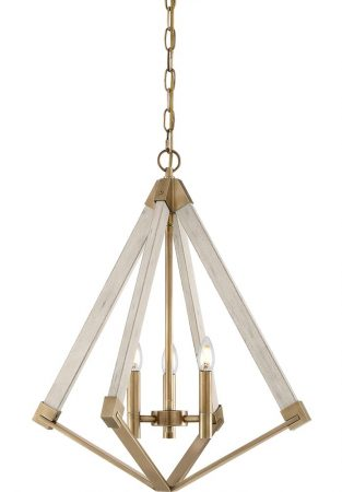 Quoizel View Point 3 Light Small Pendant Chandelier Weathered Brass