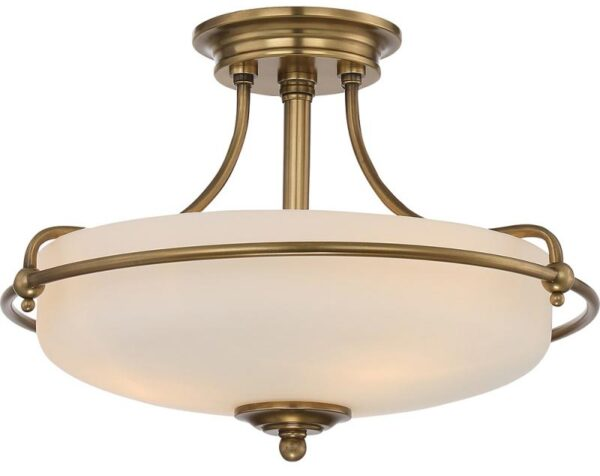 Quoizel Griffin Weathered Brass Art Deco Style 3 Light Semi Flush