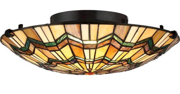 Quoizel Alcott 2 Light Flush Mount Tiffany Ceiling Light Valiant Bronze