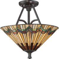 Quoizel Alcott 2 Light Semi Flush Mount Tiffany Ceiling Light Valiant Bronze