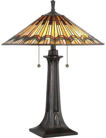 Quoizel Alcott Mission Style 2 Light Tiffany Table Lamp Valiant Bronze