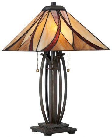 Quoizel Asheville 2 Light Tiffany Table Lamp Art Nouveau Style