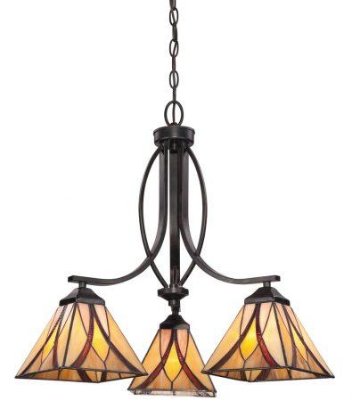 Quoizel Asheville 3 Light Chandelier Tiffany Shades Art Nouveau Style