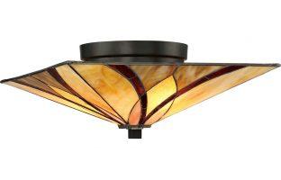 Quoizel Asheville 2 Light Flush Mount Tiffany Ceiling Light Art Nouveau