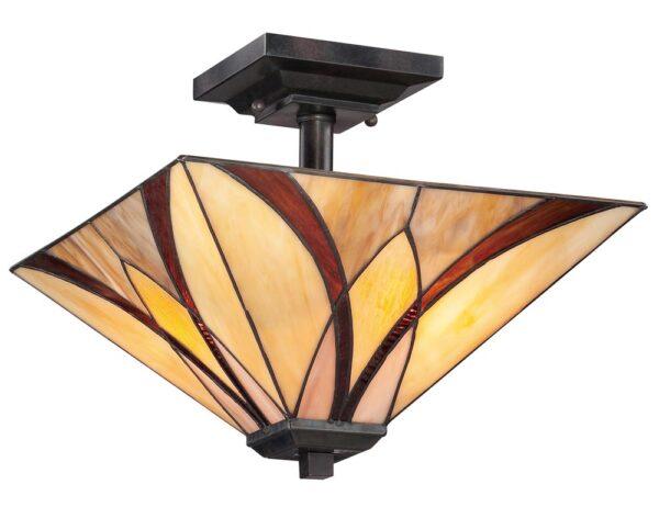 Quoizel Asheville 2 Light Semi Flush Tiffany Ceiling Light Art Nouveau