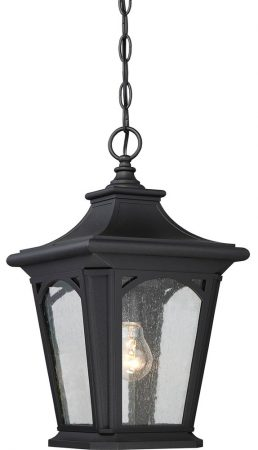 Quoizel Bedford Hanging Outdoor Porch Lantern Mystic Black Seeded Glass