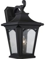 Quoizel Bedford Large Outdoor Wall Lantern Mystic Black Seeded Glass