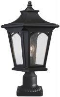 Quoizel Bedford Outdoor Pedestal Lantern Mystic Black Seeded Glass