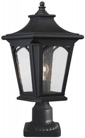 Quoizel Bedford Outdoor Pedestal Lantern Mystic Black Seeded Glass