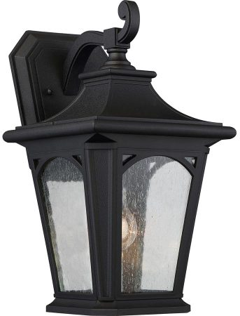 Quoizel Bedford Medium Outdoor Wall Lantern Mystic Black Seeded Glass