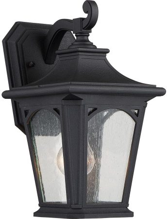 Quoizel Bedford Small Outdoor Wall Lantern Mystic Black Seeded Glass
