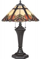 Quoizel Cambridge 2 Light Tiffany Table Lamp Art Nouveau Vintage Bronze