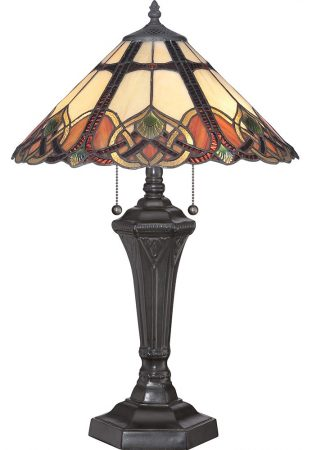 Quoizel Cambridge 2 Light Tiffany Table Lamp Art Nouveau Vintage Bronze