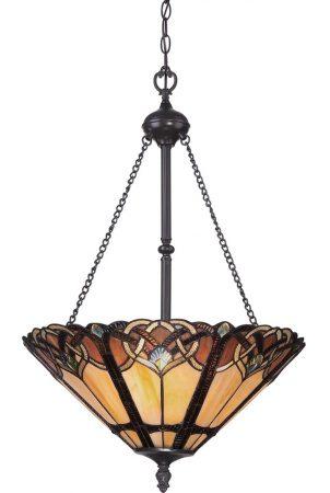 Quoizel Cambridge 3 Light Tiffany Pendant Art Nouveau Vintage Bronze