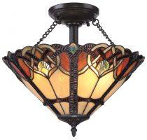Quoizel Cambridge Semi Flush Tiffany Light Art Nouveau Vintage Bronze