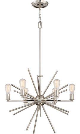 Quoizel Carnegie 6 Light Designer Pendant Chandelier Imperial Silver