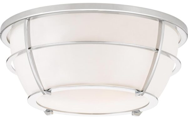 Quoizel Chance 2 Light Flush Bathroom Ceiling Light Polished Chrome