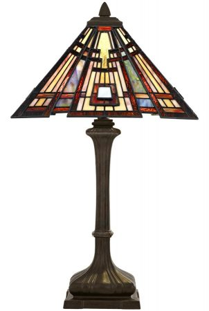 Quoizel Classic Craftsman Arts & Crafts 2 Light Tiffany Table Lamp