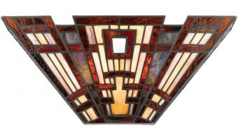 Quoizel Classic Craftsman Arts & Crafts 2 Light Tiffany Wall Lamp