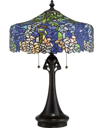 Quoizel Cobalt 2 Light Floral Tiffany Table Lamp Hydrangea