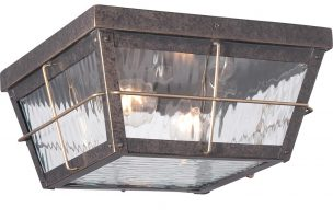 Quoizel Cortland Flush Outdoor Porch Light Imperial Bronze Rippled Glass
