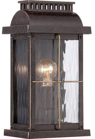 Quoizel Cortland Outdoor Wall Lantern Imperial Bronze Rippled Glass