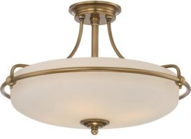 Quoizel Griffin Weathered Brass Art Deco Style 4 Light Semi Flush