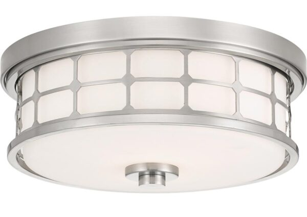 Quoizel Guardian 2 Light Flush Bathroom Ceiling Light Brushed Nickel