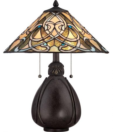 Quoizel India 2 Light Tiffany Table Lamp Art Nouveau Imperial Bronze