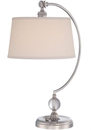 Quoizel Jenkins 1 Light Table Lamp Polished Nickel Cream Shade