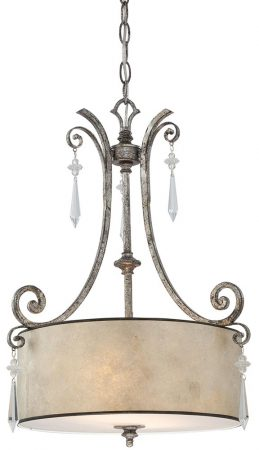 Quoizel Kendra Wrought Iron 2 Light Pendant Mottled Silver