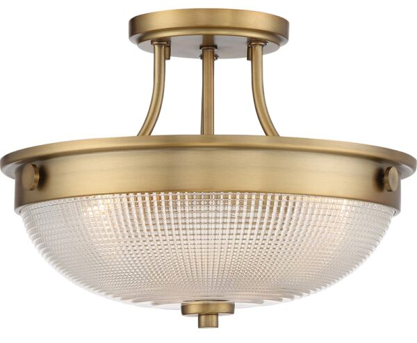 Quoizel Mantle 2 Light Semi Flush Ceiling Light Weathered Brass