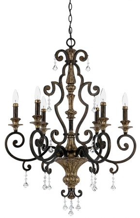 Quoizel Marquette Large 6 Light Wrought Iron Chandelier Heirloom