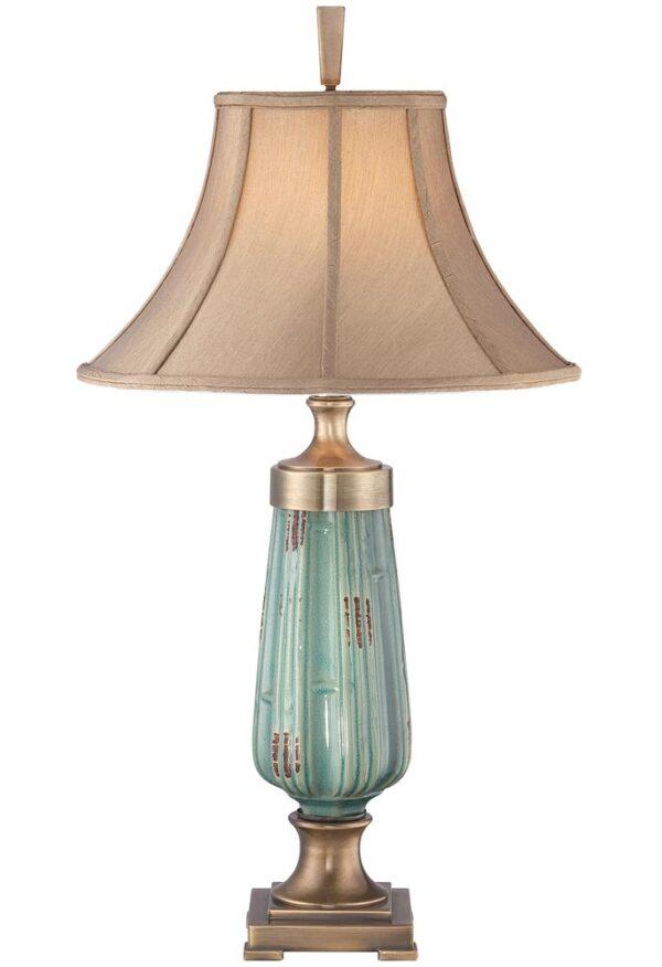 Quoizel Monteverde 1 Light Green Ceramic Table Lamp Caramel Shade