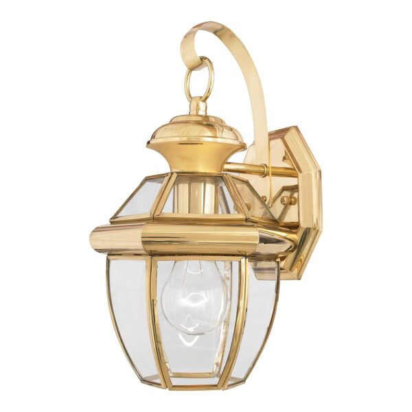 Quoizel Newbury 1 Light Small Outdoor Wall Lantern Solid Polished Brass