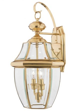 Quoizel Newbury 2 Light Large Outdoor Wall Lantern Solid Polished Brass