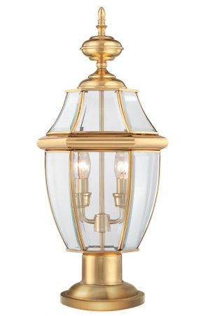 Quoizel Newbury 2 Light Outdoor Pedestal Lantern Solid Polished Brass