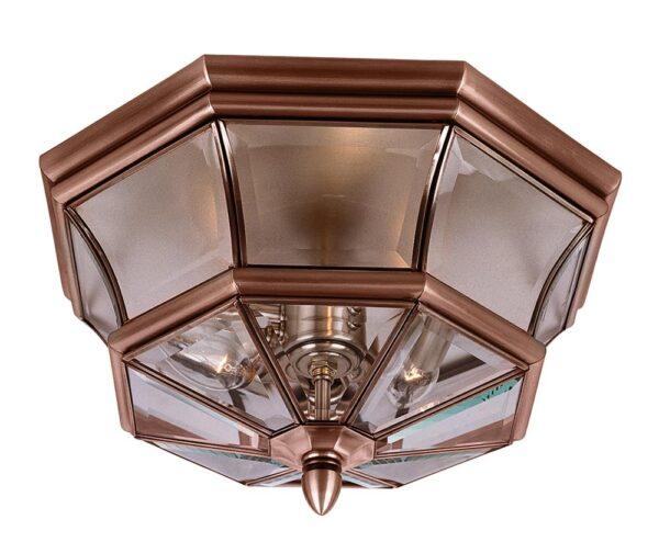 Quoizel Newbury 3 Light Flush Outdoor Porch Lantern Aged Copper