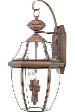 Quoizel Newbury 2 Light Large Outdoor Wall Lantern Aged Copper