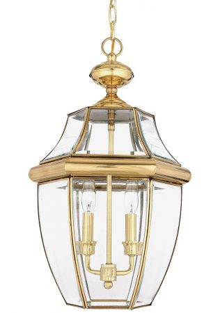 Quoizel Newbury 2 Light Large Hanging Porch Lantern Solid Brass